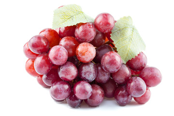 Ripe red grape on white background
