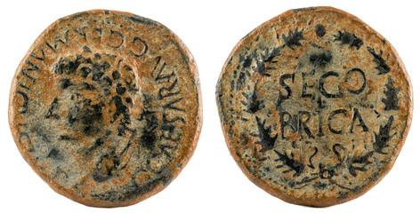 Ancient Roman copper coin. As of Emperor Caligula. Coined in Segobriga