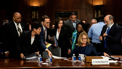 Christine Blasey Ford testifies about sexual assault allegations against Supreme Court nominee Judge Brett M. Kavanaugh on Capitol Hill in Washington