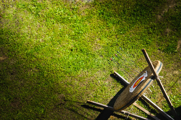 target grass top view archery competition background green
