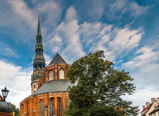 The medieval Evangelical Lutheran church of St. Peter in old Riga (Latvia) is one of the oldest and highest buildings in Baltic region, Europe