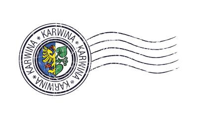 Karwina city grunge postal rubber stamp