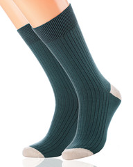 Green socks, isolated on a white background