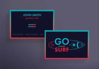 Business Card Layout with Surfboard and Wave Elements