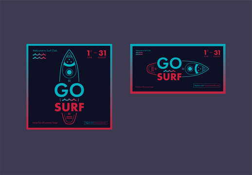 Social Media Post Layouts with Surfboard and Wave Elements