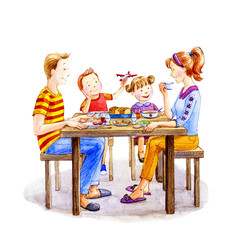 Family having breakfast. Watercolor illustration.İsolated on white.