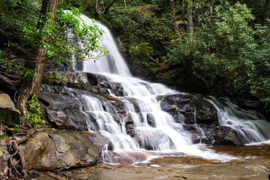 Cascading waterfall in mountains surrounded by forest; scenic landscape background