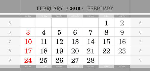 February 2019 quarterly calendar block. Wall calendar in English, week starts from Sunday.