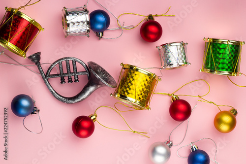 top view christmas decorations on a pastel pink background - Pastel Christmas Decorations