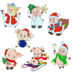 A set of cute characters for the new year. Christmas characters. Piggy cartoon for greeting card. Vector elements for design.