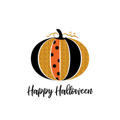 Happy Halloween greeting card. Glitter pumpkin and lettering. Halloween glamorous sparkling pumpkin. Design for poster or flyer