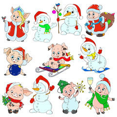 A set of cute characters for the new year. Christmas characters. Piglets and snowmen for greeting cards. Vector elements for design.