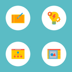 Set of website icons flat style symbols with brainstorm, website structure, design software and other icons for your web mobile app logo design.