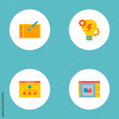 Set of website icons flat style symbols with brainstorm, website