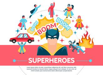 Flat Superheroes Concept