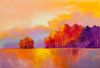 original oil painting of autumn landscape