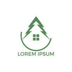 Green House Logo Design. Eco House Vector Logo Design.