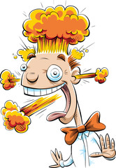 A smiling, happy cartoon man reacting with strong emotions with explosions coming from his ears, mouth and head.