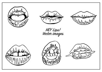 Vector set of line drawing lips. Perfect as a design elements or stickers