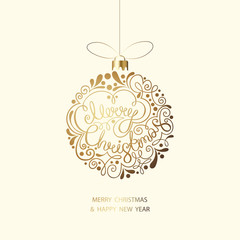 Merry Christmas and Happy New Year greeting card with Christmas ball.