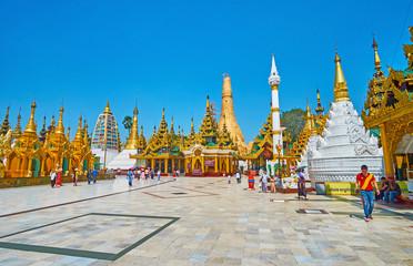 Unique architecture of Shwedagon Pagoda complex, Yangon, Myanmar