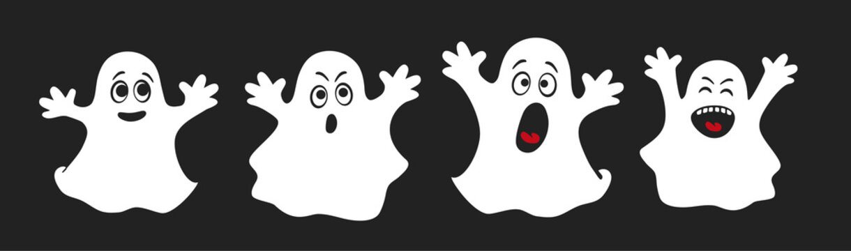 Set of cute ghosts, apparition, spook, horror. Poster for happy Halloween. Isolated cartoon illustration for print or sticker. Scary fairy. Card for friends or family. Ghost shadow funny. Vector.