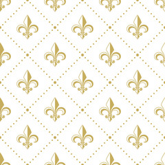 Seamless golden pattern with Fleur de Lis. Vector illustration.