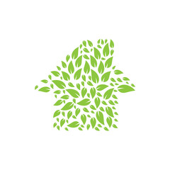 Abstract nature house logo design template.