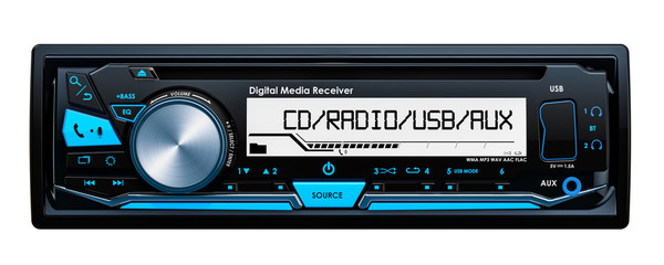Car digital media receiver front view, 3D rendering