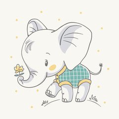 Vector illustration of a cute baby elephant holding a flower in his trunk.
