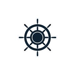Ship wheel logo icon design template vector