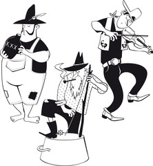 American jug band with a fiddler and jug and washbasin bass players, EPS 8 vector line illustration, no white objects