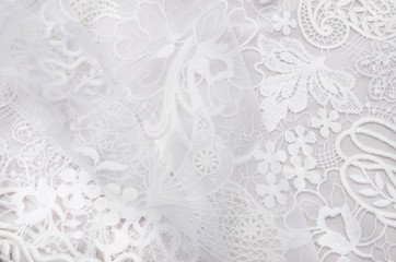 Lace cloth macrame of their cotton and polyamide of ivory