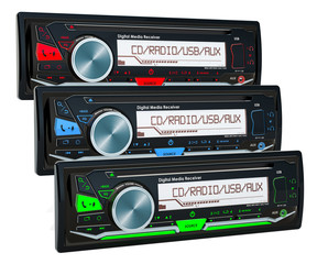 Set of colored car digital media receivers, 3D rendering