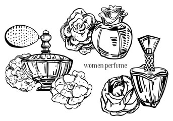 Sketch outline bottles of female perfumes with flowers. Vector hand drawn illustration