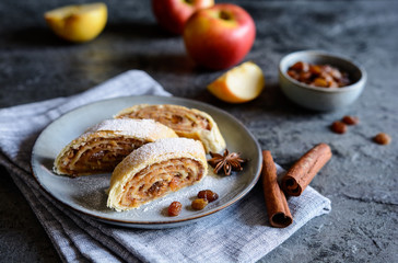 Traditional apple roulade with raisins and cinnamon