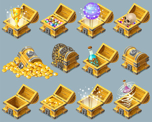 Set cartoon wooden isometric chests decorated silver with golden trophies, elixirs, potions, skull, money, coins and gems for computer game. Vector illustration on gray background.