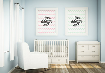 2 Framed Posters on Baby Room Wall Mockup
