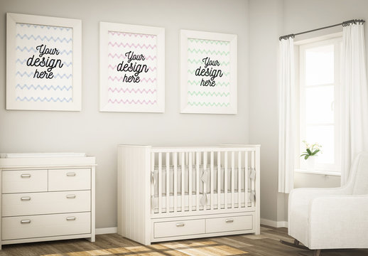 3 Framed Posters on Baby Room Wall Mockup