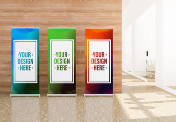 3 Roll-Up Advertising Banners in Office Mockup