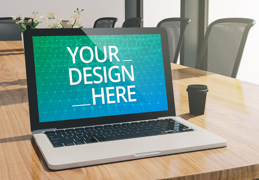 Laptop on Conference Room Table Mockup