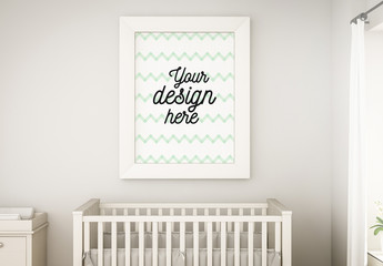 Poster on Baby Room Wall Mockup