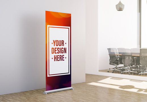 Advertising Roll-Up Banner in Office Mockup