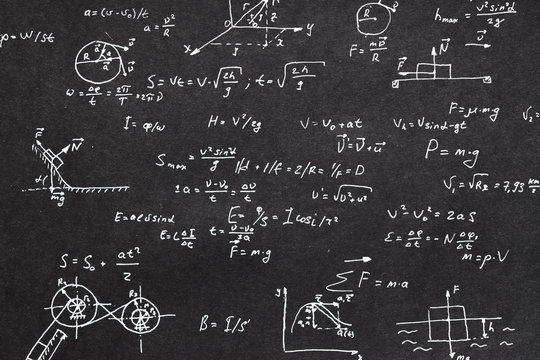 physics formula written on chalkboard. kinematics scientific research and calculation concept.