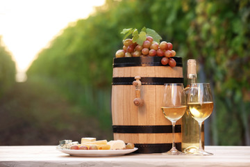 Composition with wine and snacks on table outdoors