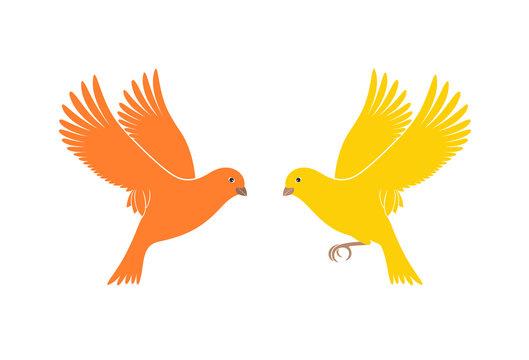 Canary logo. Isolated canary on white background. Bird