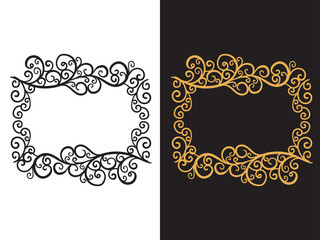 Frame with a hand drawn pattern of curls. Vector illustration isolated on background.