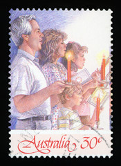 AUSTRALIA - CIRCA 1987:A Cancelled postage stamp from Australia illustrating Christmas 1987, issued in 1987.