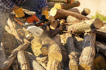 The worker works with a chainsaw. Chainsaw close-up.