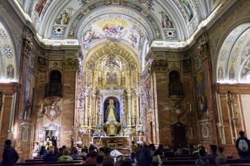interior of the basilica of La Macarena in Seville, Andalucia, Spain.